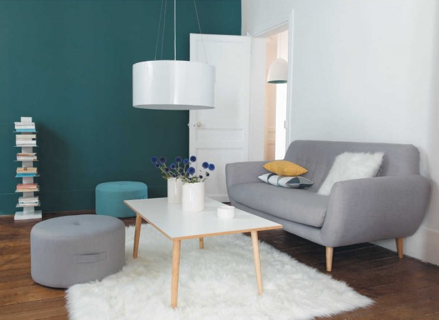 Deco salon style scandinave nordique canape etagere table basse pas cher mais - Deco etagere murale salon ...